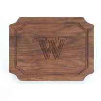 """BigWood Boards W300-W Cutting Board, Monogrammed Wedding Gift Cutting Board, Small Cheese Board, Walnut Wood Serving Tray,""""W"""""""
