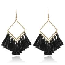 Vintage Boho Square Metal with Tassels Dangle Drop Earrings for Women