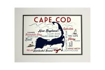 Cape Cod, Massachusetts - Typography and Icons (11x14 Double-Matted Art Print, Wall Decor Ready to Frame)