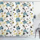 """Ambesonne Leaf Shower Curtain, Seasonal Flowers with Colorful Leaves Poison Ivy Plant in Contemporary Design Print, Cloth Fabric Bathroom Decor Set with Hooks, 70"""" Long, Black Brown"""