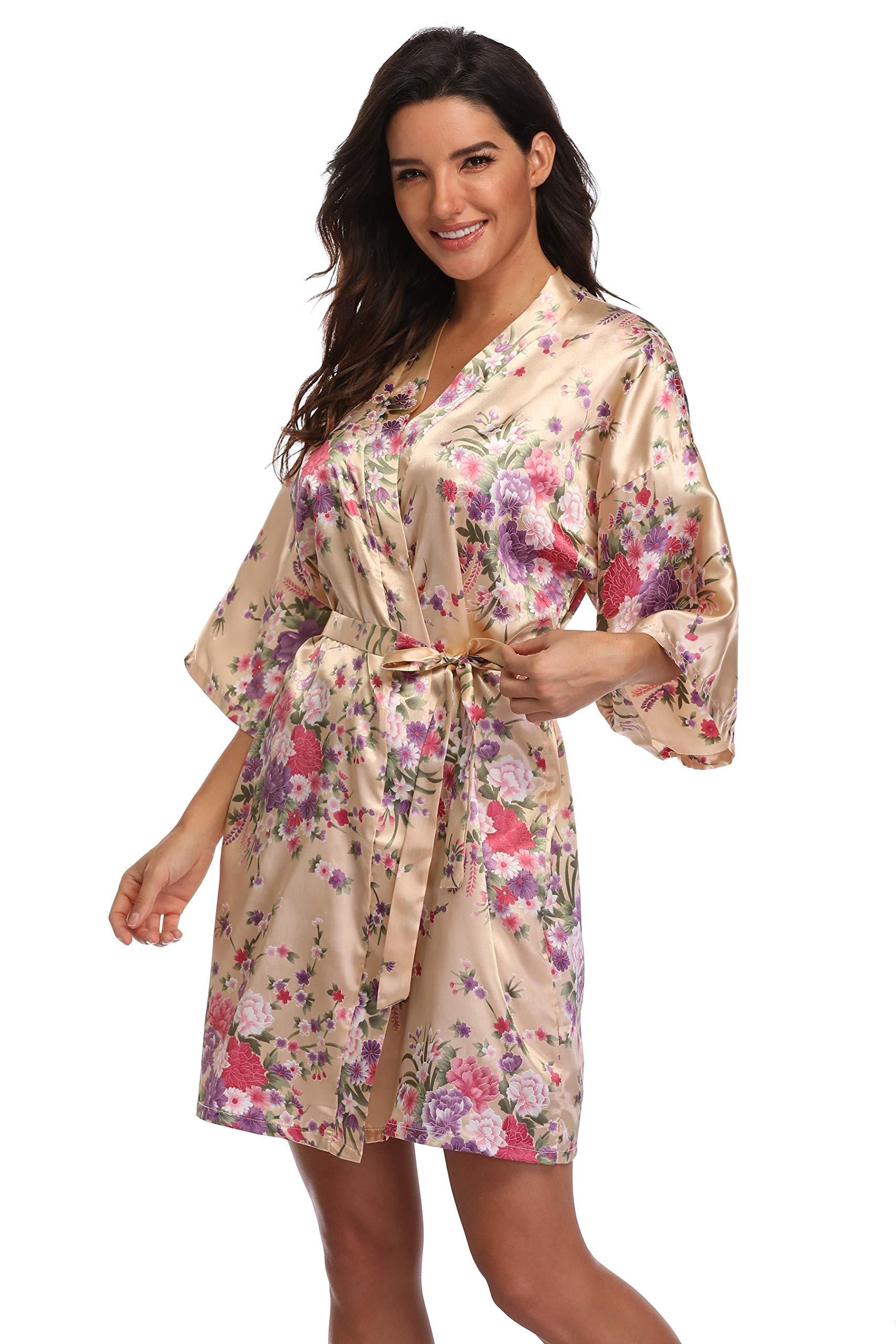 sophiashopping Women's Floral Robe Bridemaids Satin Kimono Dressing Gown Short Sleepwear