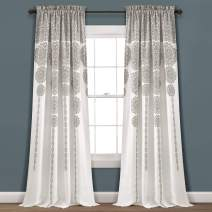 "Lush Decor, Gray Lush Décor Stripe Medallion Room Darkening Window Curtain Panel Pair Set, 95"" L x 52"" W"