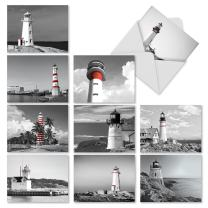 10 'Red Beacons' Lighthouse Thank You Greeting Cards 4 x 5.12 inch - Modern Greeting Cards for Weddings, Baby Showers, or Holidays - Boxed All-Occasion Stationery Note Card Set (w/Envelopes) M1707TY
