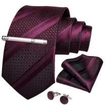 DiBanGu Men's Stripe Tie Silk Woven Necktie Pocket Square Cufflink Set Formal Business Prom Wedding