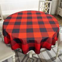 "VVA Buffalo Checkered Plaid Round Tablecloth - Gingham Checker Table Cloth Elegant Décor for Holiday Family Dinners or Gatherings, Indoor Outdoor Events or Parties & Everyday Use, Red Black 70"" Inch"