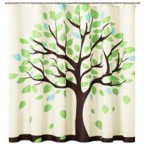CHUN YI Shower Curtain with Water Resistant Liner, Waterproof Polyester Fabric Printed Green Tree Spring Scene Leaves Rust-Resistant Hooks Clear Bathroom Art Decor(Pistachio Green)