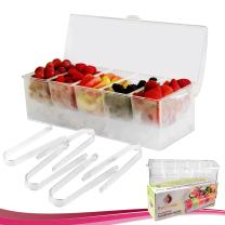 Chilled Condiment Server with 5 Compartments + 5 FREE Tongs I Removable Condiment Containers on Ice Tray Bundle