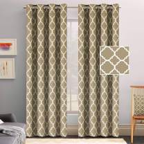 Flamingo P Microfiber Noise Reducing Thermal Insulated Moroccan Blackout Drapes Printed Window Curtains for Living Room, Latte/Cappuccino - Grommet Top, Set of Two Panels, 52 x 84 Inch