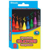 BAZIC 8 Color Premium Crayons, Assorted Washable Coloring Set, School Art Gift for Kids Teens Age 3+, 24-Pack