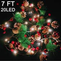 Garland with Lights Christmas Lights Battery Operated, 7FT 20LED Christmas Garland with Lights Pre-lit Garland Mantle Garland, Christmas Holiday Decoration Indoor Outdoor Xmas Home Decor