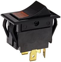 """NSi Industries, LLC Rocker Switches, On Off Circut Function, DPST, 15/10 amps at 125/250 VAC, 1.088"""" Width, 0.426"""" Height, 0.709"""" Depth, Amber - 77020RQ"""