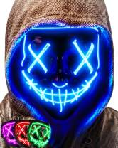 Colplay LED Light Up Halloween Mask,Scary Glow LED Face Mask with 3 lighting Modes & El Wire for Costume&Cosplay Party.Adjustable&Eco-Friendly Material for Men Women Kid-BLUE