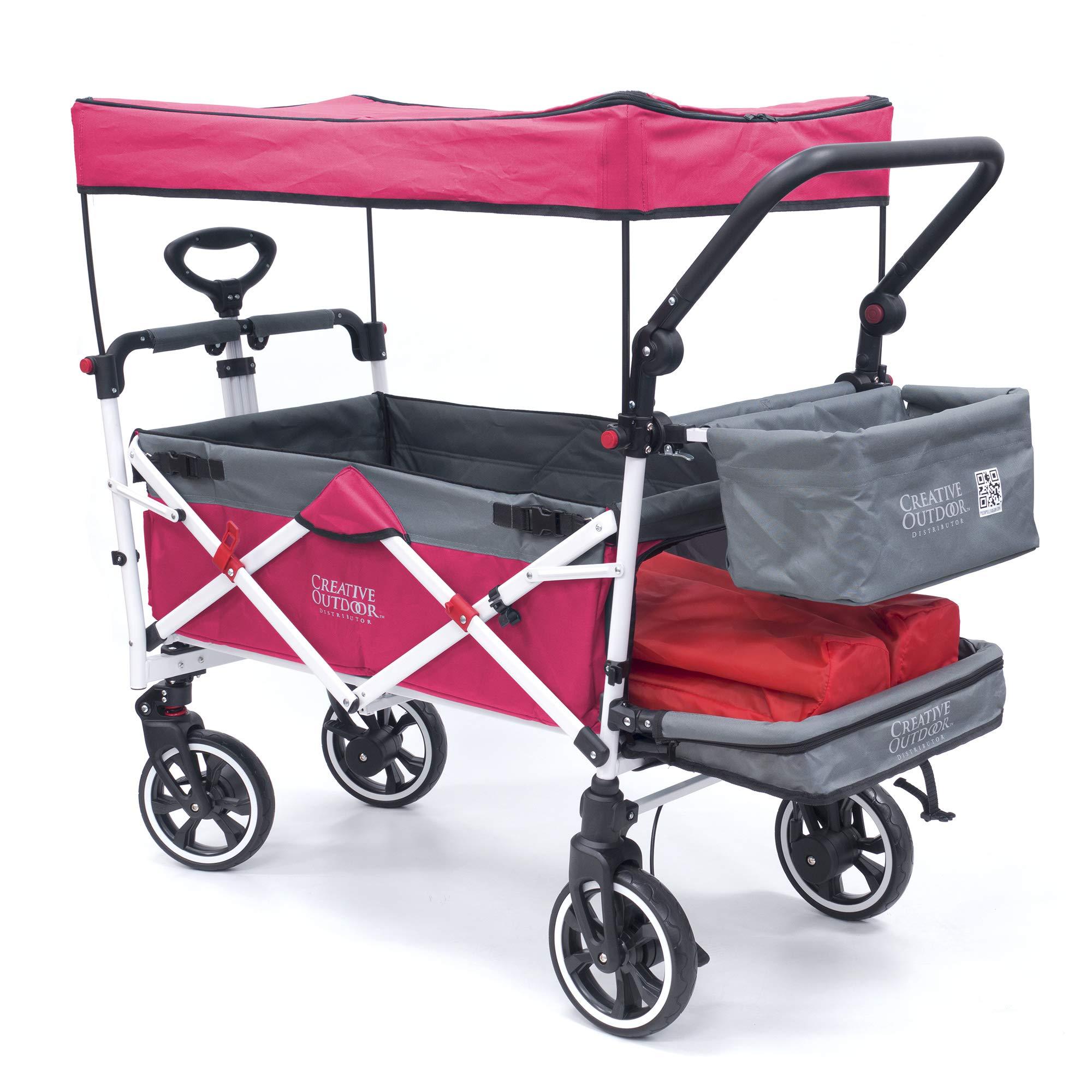 Creative Outdoor Push Pull Collapsible Folding Wagon Stroller Cart for Kids   Titanium Series   Beach Park Garden & Tailgate (Pink)