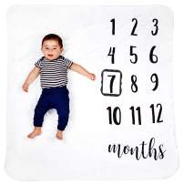 """HakoBaby Baby Monthly Milestone Blanket, Premium 265GSM Soft Flannel Fleece Large Photography Background Blanket for Baby Boys and Girls, Photo Prop for Newborn 1 to 12 Months, for Mom, 47""""x47"""" Large"""