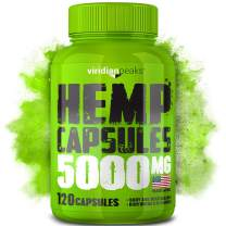 Hemp Oil Capsules 5000 MG - Efficient Pain, Anxiety & Stress Relief - 100% Grown & Made in USA - Premium Hemp Oil - Anti Inflammatory - Ideal Omega 3, 6, 9 Source - Sleep, Mood & Immune Support