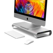 MONITORMATE ProBASE X USB3.0 Aluminum Monitor Stand with 18W Fast-Charging Port(Compatible with iPhone X/Xr/Xs/11),Ethernet Port,USB3.0 Hub, SD/MicroSD Card Reader and External Power Supply(Silver)