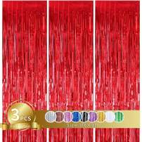 3 Pcs Red Metallic Tinsel Foil Fringe Curtains,3ft x 8ft Red Photo Booth Backdrop Curtain,Photo Booth Props,Ideal Bachelorette Party Supplies,Birthday,Graduation, Christmas,New Year Decorations