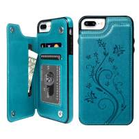 SUPWALL iPhone 7 Plus Case with Card Holder, iPhone 8 Plus Wallet Case Premium PU Leather Embossed Butterfly Kickstand Card Slots Magnetic Clasp Cover for iPhone 7 Plus & 8 Plus, Blue