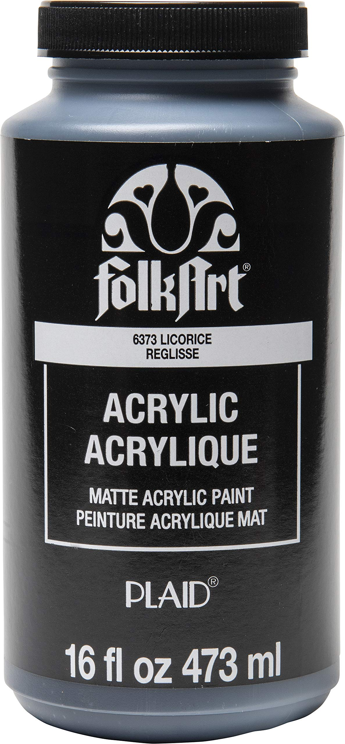 FolkArt 6373 Matte Acrylic Paint in Assorted Colors, 16 oz, Licorice 16 Fl Oz