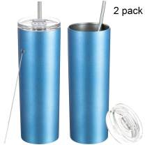 2 Pack Stainless Steel Skinny Tumbler, Double-Insulated Water Tumbler Cup With Lid and Straw, Outdoor Unbreakable Travel Slim Bottle for Hot Cold Drinks with Cleaning Brush (Sea Blue, 20 OZ)