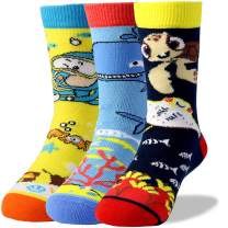 Kids Boys Girls Fashion Fun Pizza Unicorn Sea Animal Design Soft Combed Cotton Crew Socks, 3 Pairs