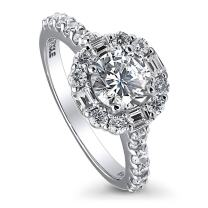 BERRICLE Rhodium Plated Sterling Silver Round Cubic Zirconia CZ Art Deco Halo Engagement Ring 1.96 CTW