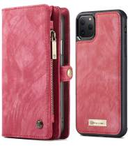 XRPow iPhone 11 Pro Wallet Case, iPhone 11 Pro Detachable Slim Cover, 5.8Inch, 2 in 1 Premium Leather Folio Magnetic Wallet Credit Card Slot Shock Protection Removable Back Shell Carrying Cover RED