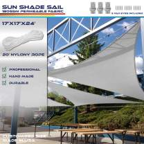 Windscreen4less 17' x 17' x 24' Sun Shade Sail Triangle Canopy in Light Grey Included Free 3 Pad Eyes with Commercial Grade (3 Year Warranty) Customized Size