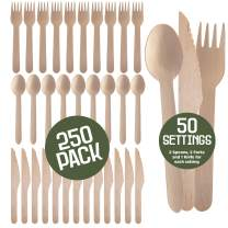 Prexware Biodegradabel Eco-friendly Go green Birchwood Disposable Wooden Cutlery set, Spoon Knife and fork set of 250