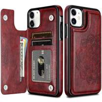 HianDier Wallet Case for iPhone 11 6.1-inch Slim Protective Case with Credit Card Slot Holder Flip Folio Soft PU Leather Magnetic Closure Cover for 2019 iPhone 11 iPhone XI, Mandala Dark Red