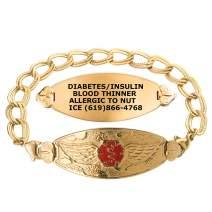 Divoti Custom Engraved Medical Alert Bracelets for Women, Stainless Steel Medical Bracelet, Medical ID Bracelet w/Free Engraving – PVD Gold Angel Wing Tag w/PVD Gold Double Link – Color/Size