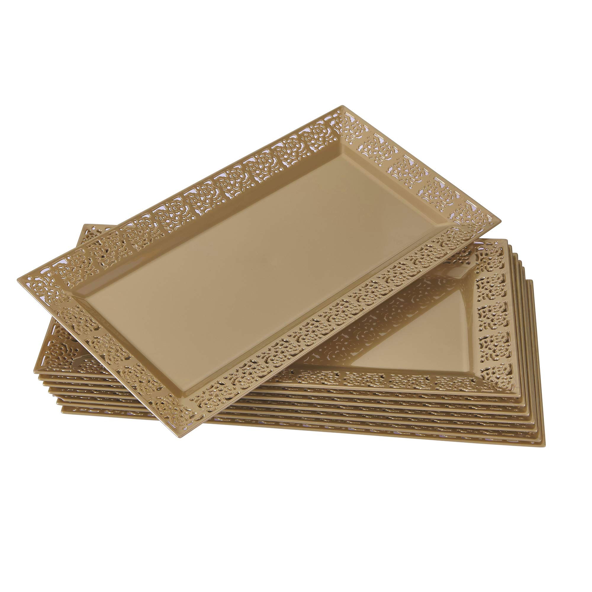 """DISPOSABLE LACE TRAYS   for Upscale Wedding and Dining   12 pc   Gold   14"""" x 7.5"""""""