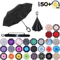 ABCCANOPY Inverted Umbrella,Double Layer Reverse Rain&Wind Teflon Repellent Umbrella for Car and Outdoor Use, Windproof UPF 50+ Big Straight Umbrella with C-Shaped Handle,bright star