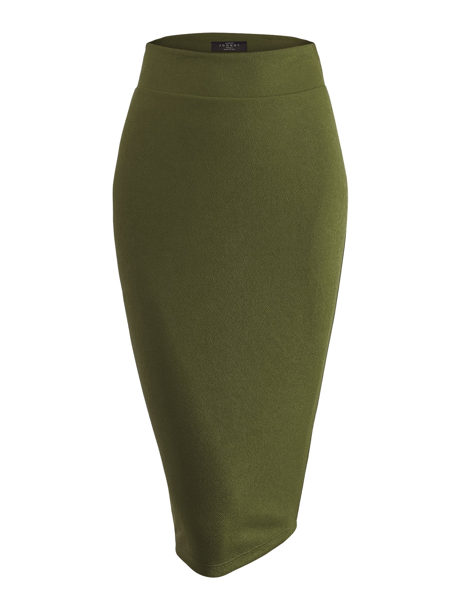 WB1579 Womens Slim Fit Solid Texture Midi Pencil Skirt - Made in USA XL Olive