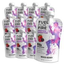 Fuel For Fire - Mixed Berry (12 Pack) Fruit & Protein Smoothie Squeeze Pouch   Perfect for Workouts, Kids, Snacking - Gluten Free, Soy Free, Kosher (4.5 ounce pouches)