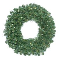 "Vickerman C164637 Fir Wreath with 190 PVC Tips & 100 Dura-Lit Lights, 36"", Clear/Oregon"