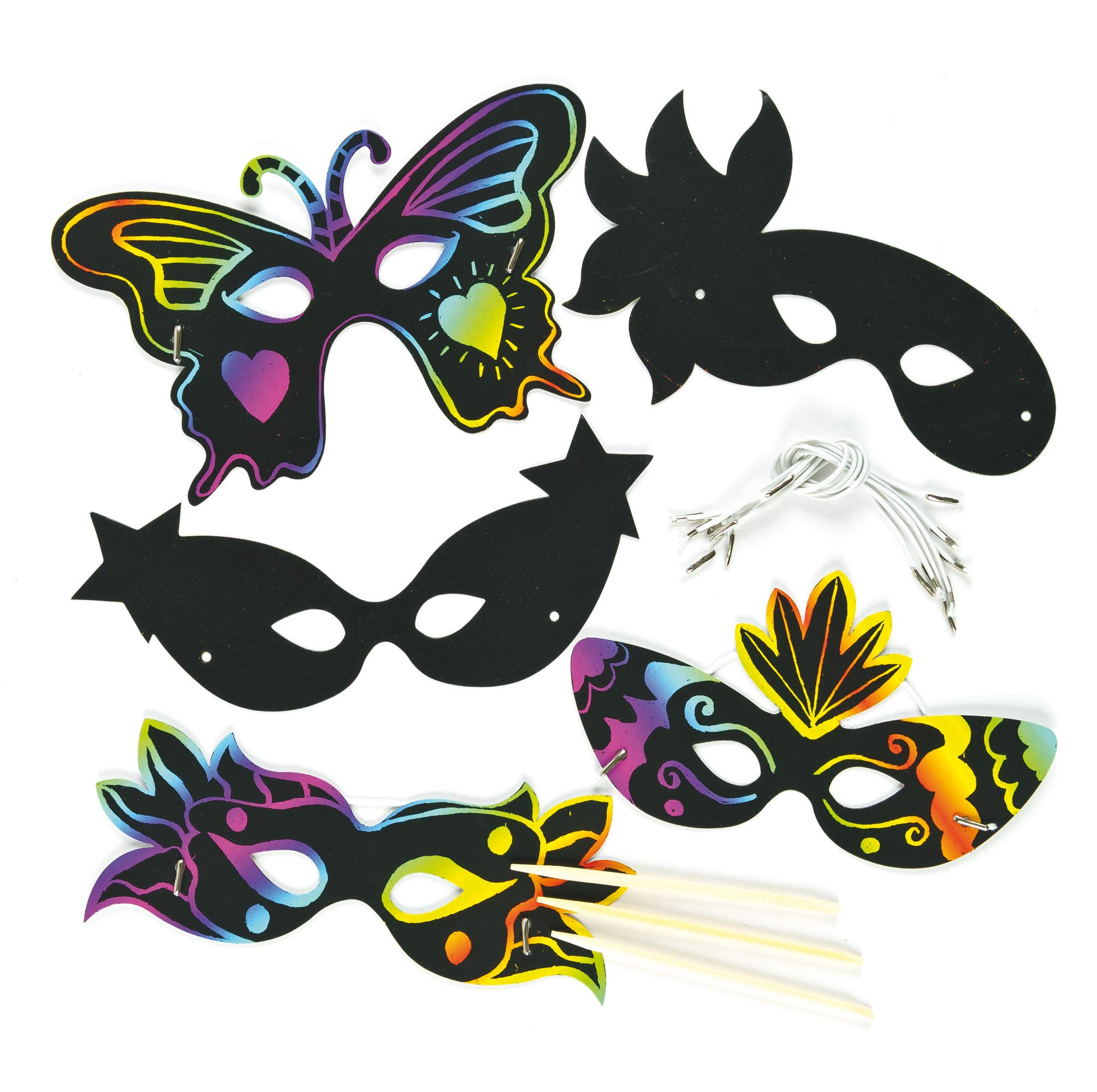 Baker Ross Carnival Scratch-Off Art Eye Mask   Wearable Decoration Kits   Magic Scratch Wand   Kids Fun Arts & Crafts Project   No Glue or Scissors Needed   Pack of 10