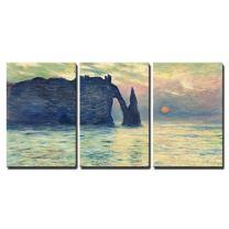 """wall26 - Sunset by Claude Monet - Canvas Art Wall Decor - 16""""x24""""x3 Panels"""