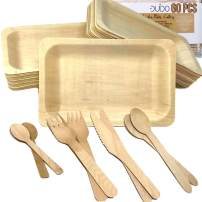 Disposable Biodegradable Plates and Wooden Cutlery - (Pack of 60) 12 7.8-inch Plates 12 Forks 12 Knives 12 Spoons 12 Small Spoons Eco-Friendly Silverware Compostable Flatware Biodegradable