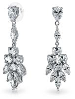 Bridal Teardrop Marquise Cluster Cubic Zirconia CZ Prom Pageant Statement Dangle Earrings For Women Silver Plated Brass