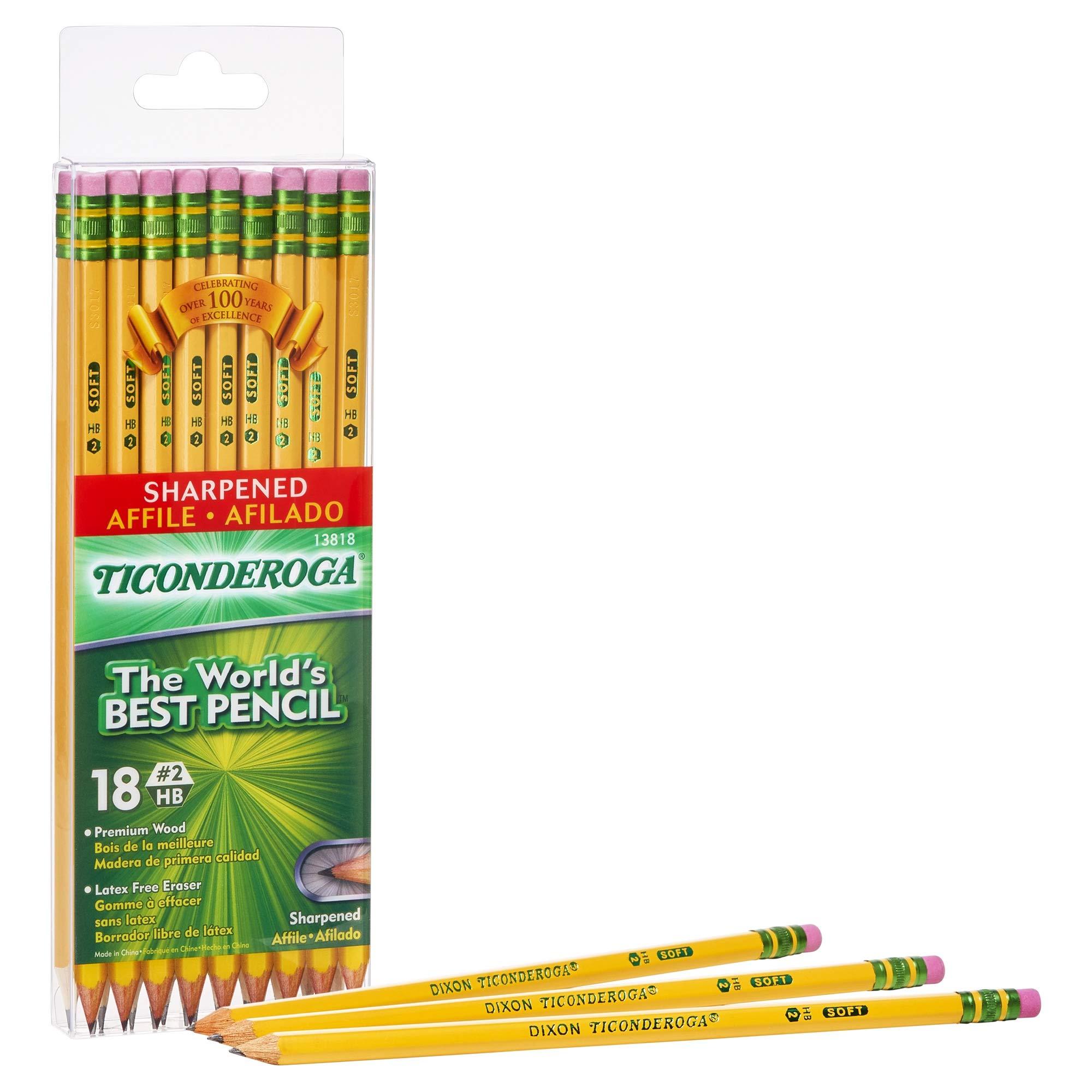 Ticonderoga Pencils, Graphite #2, Yellow, 18-Pack