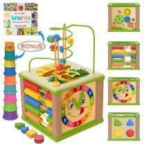 Wooden Kids Baby Activity Cube - Boys Gift Set | One 1, 2 Year Old Boy Gifts Toys | Developmental Toddler Educational Learning Boy Toys 12-18 Months | Bead Maze, First Birthday Gift