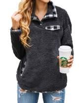 kenoce Women's Fuzzy Fleece Hoodie Long Sleeve Zip Up Hooded Sweatshirt Sherpa Pullover Hoodies Outwear Coat with Pockets