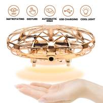 FCONEGY Operated Mini Toy Drone for Kids, Gravity Defying Drone, USB Rechargeable Indoor Drone, Most Popular 2020 Birthday Gift for4,5,6,7,8,9,10,11, Year Old Boys and Girls,Gold