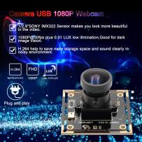 Camera USB 1080P 0.01lux Low Illumination Webcam Sony IMX322 Sensor Webcamera 2MP Fisheye Camera Module USB 170 Degree Fisheye Lens Wide Angle Low Light Video Industrial Camera for Linux/Windows/Mac
