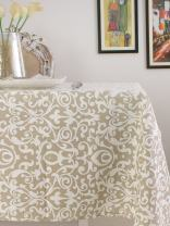 Table Cloth, 100% Cotton, Rectangular Table Cloth of Size 52X70 Inch, Eco - Friendly & Safe, Beige Baroque Design for Kitchen