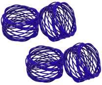 SKAVIJ Metal Mesh Napkin Rings Set for Dining Table Decoration (Dia-2 Inch, Pack of 4, Blue)