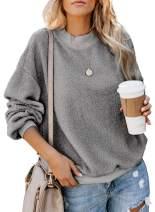 Asvivid Womens Fuzzy Fleece Crewneck Pullover Sweatshirt Solid Long Sleeve Cozy Fluffy Warm Outerwear Tops