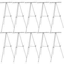 """U.S. Art Supply 66"""" High Classroom Silver Aluminum Flipchart Display Easel and Presentation Stand (Pack of 10) - Large Adjustable Floor and Tabletop Portable Tripod, Holds 25 lb, Writing Pads, Posters"""