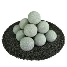 Ceramic Fire Balls | Set of 14 | Modern Accessory for Indoor and Outdoor Fire Pits or Fireplaces – Brushed Concrete Look | Pewter Gray, Speckled, 4 Inch